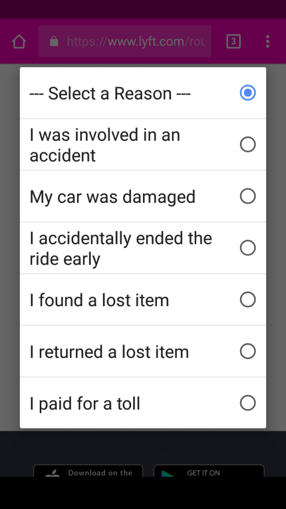 Lyft Customer Service In-app Options