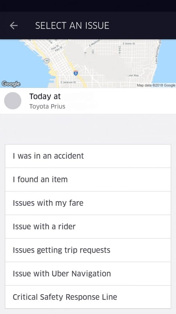Uber Customer Service Accident, found an item, issues with fare, as rider, trip requests, uber navigation and critical safety response line.