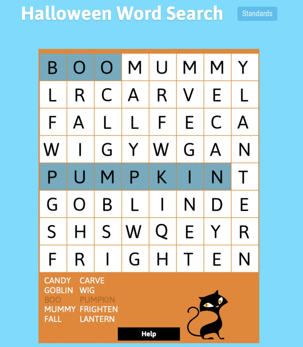 ABCYA.com Halloween Word Search