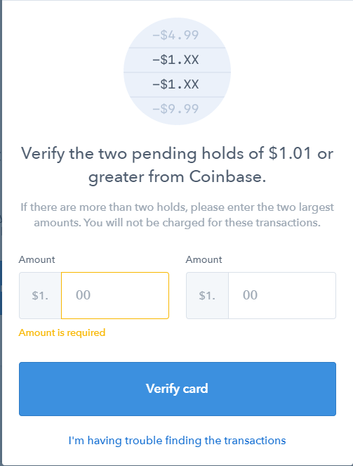 Coinbase Debit Card Verification
