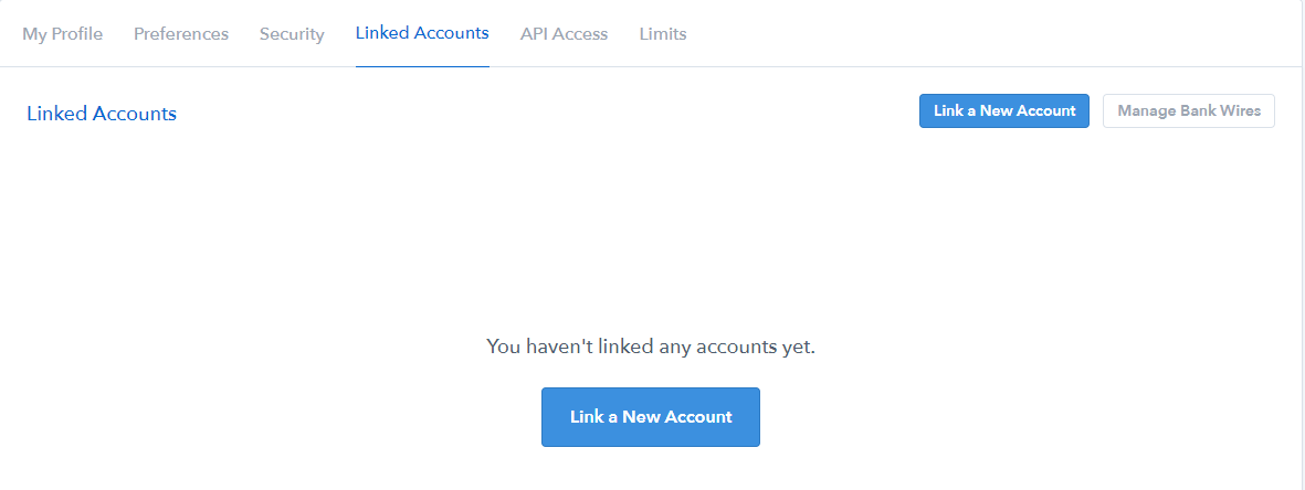 Coinbase Linking a New Account