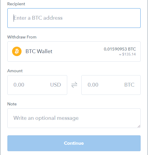 Coinbase Sending Cryptocurrency
