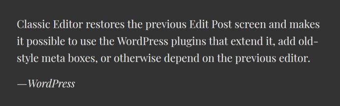 How to switch back to classic TinyMCE Wordpress editor?