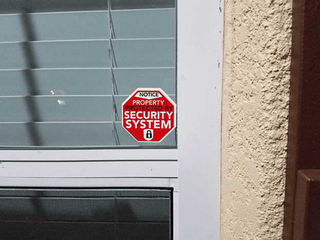 Security system decal decoy can deter crime