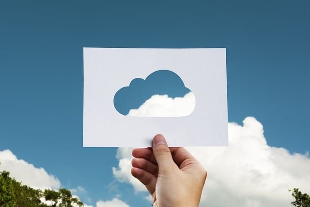 cloud, paper, hand