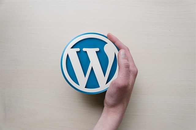 wordpress, hand, logo