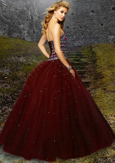 woman, beautiful, red gown