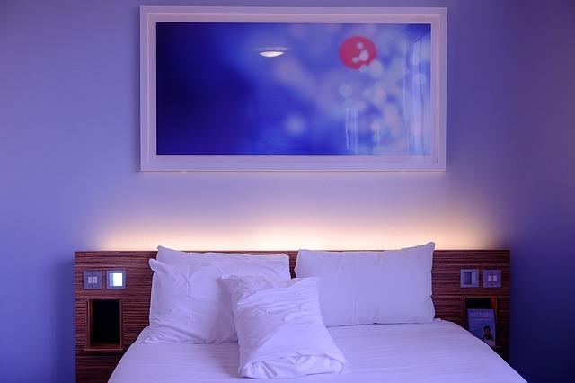 bedroom, hotel room, white
