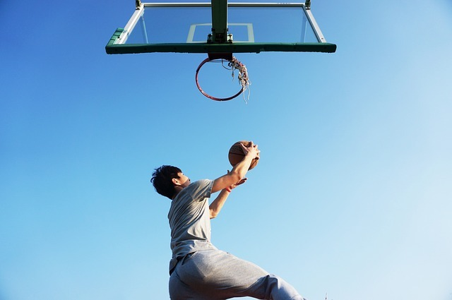basketball, dunk, blue