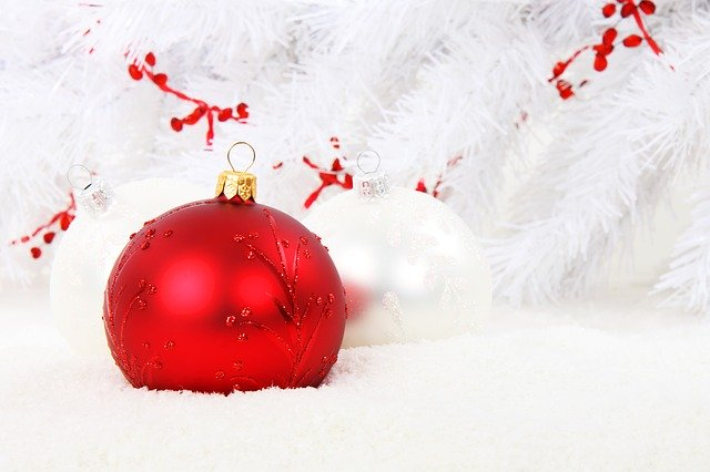 christmas bauble, red, ball