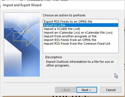 MS Outlook Import/Export Wizard